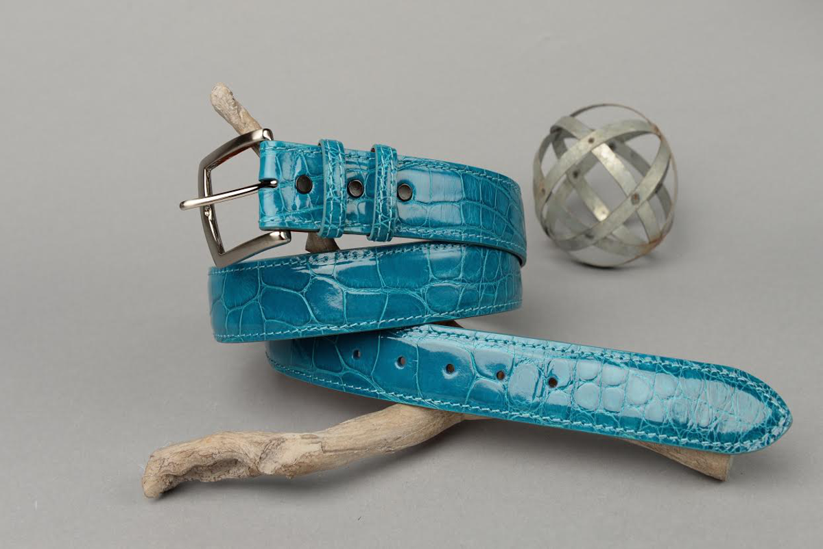 Glazed Turquoise Blue American Alligator Belt with Matching Edge and Stitch.