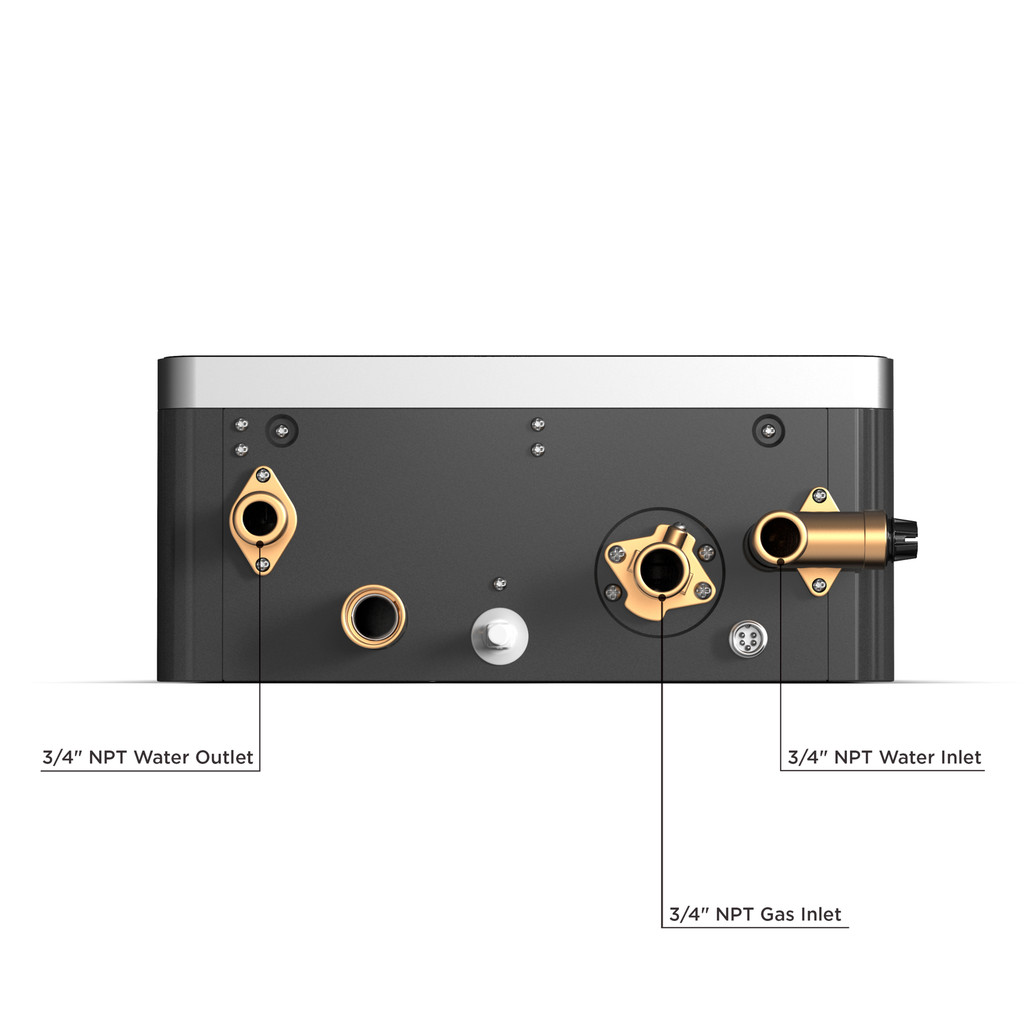 Eccotemp EL22 Outdoor 6.8 GPM Natural Gas Tankless Water Heater Bottom Callout