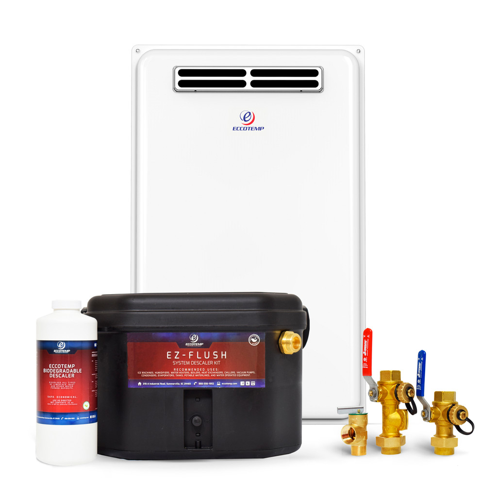 Eccotemp 45H Outdoor 6.8 GPM Liquid Propane Tankless Water Heater Service Bundle