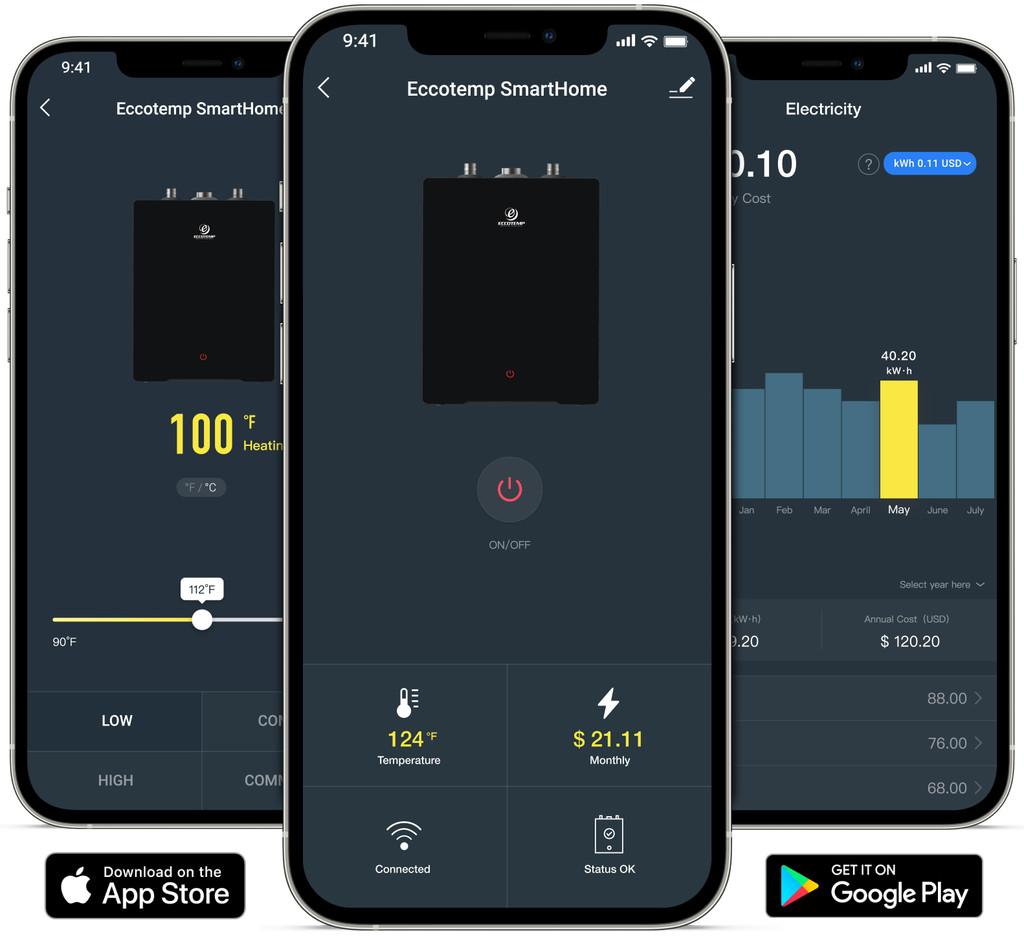 Eccotemp SmartHome 2.5 Gallon Mini Tank Water Heater app screens