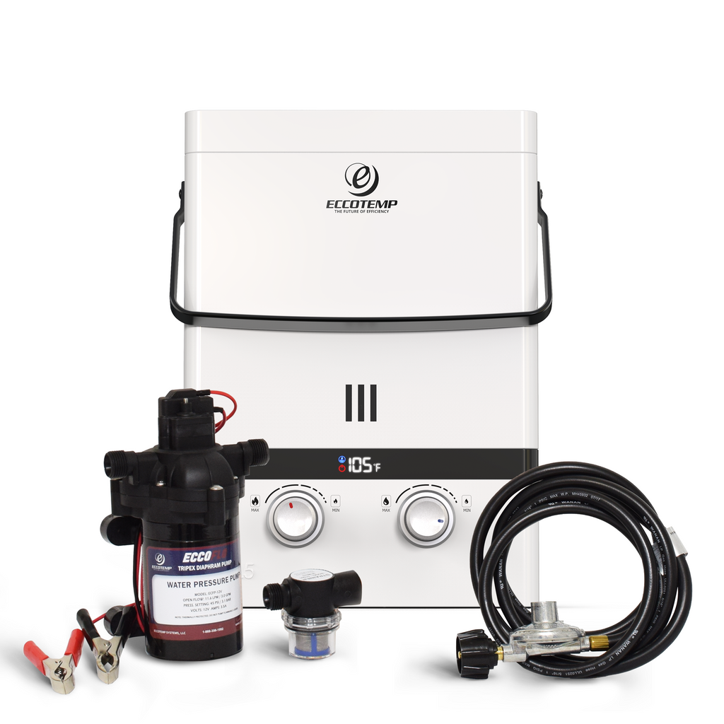 Luxe 1.5 GPM Portable Outdoor Tankless Water Heater bundle
