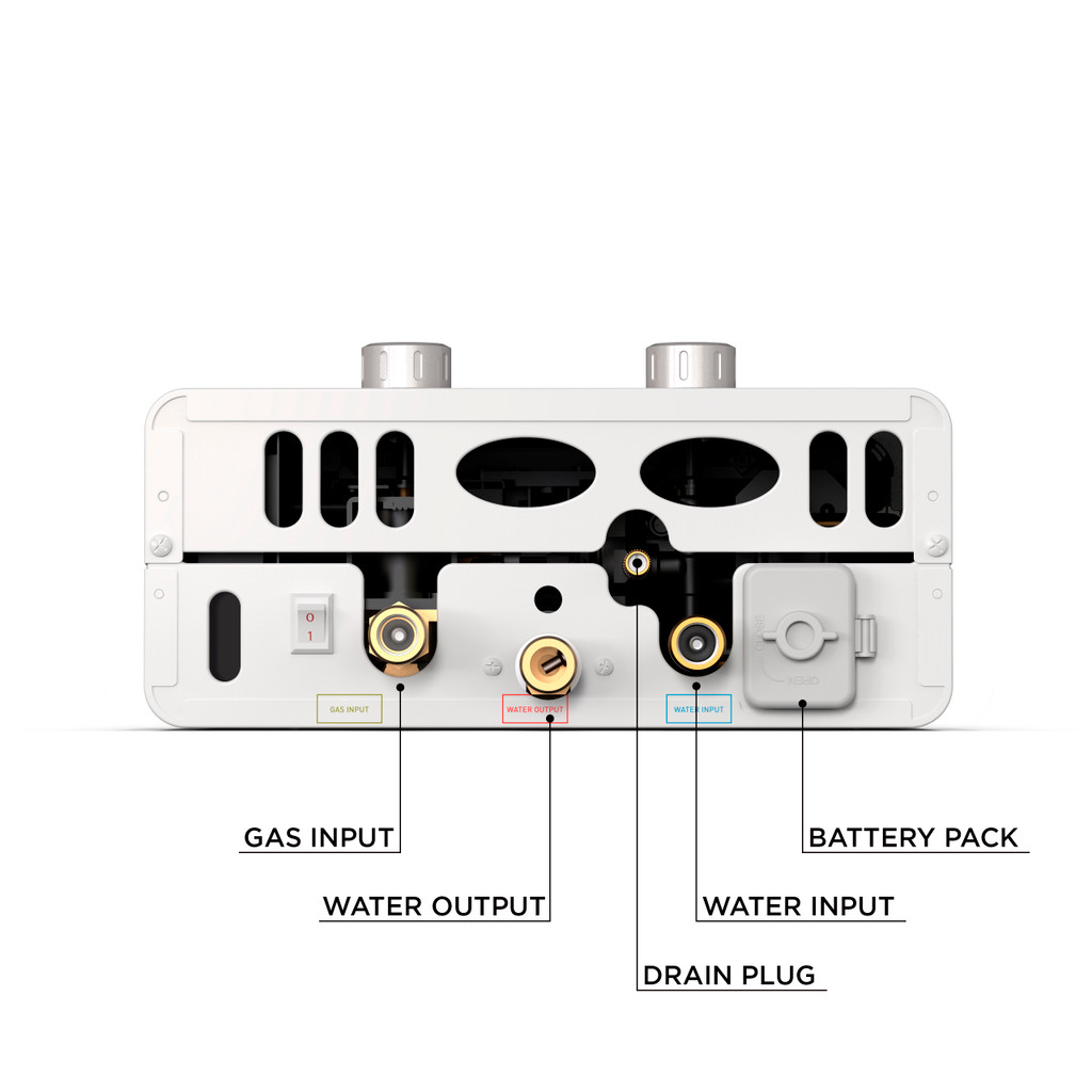 Luxe 1.5 GPM Portable Outdoor Tankless Water Heater  bottom view with specs
