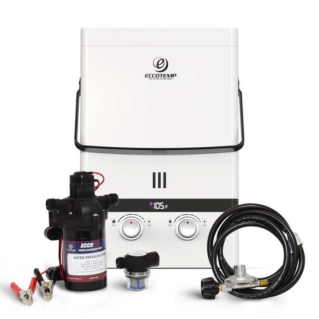 Luxe 1.85 GPM Portable Outdoor Tankless Water Heater bundle