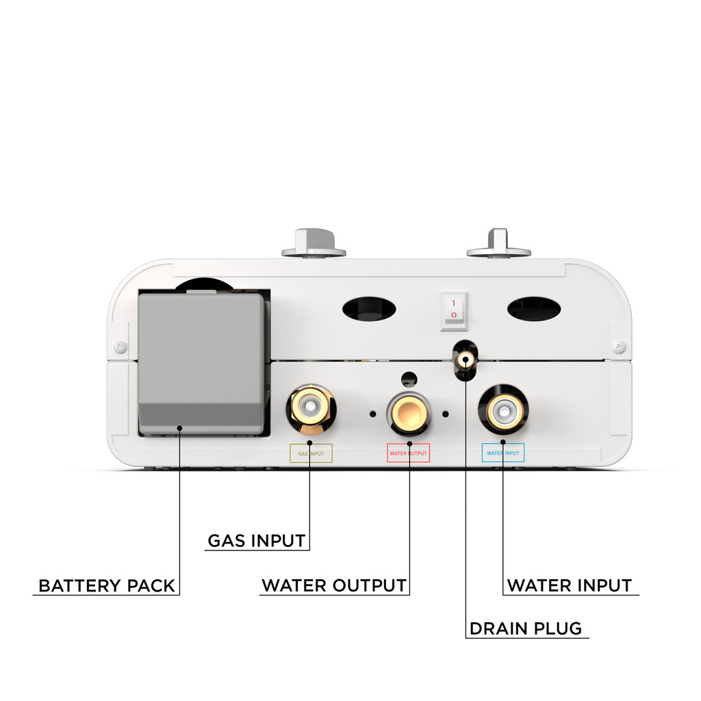 Eccotemp L5 Portable Outdoor Tankless Water Heater Bottom Callout View