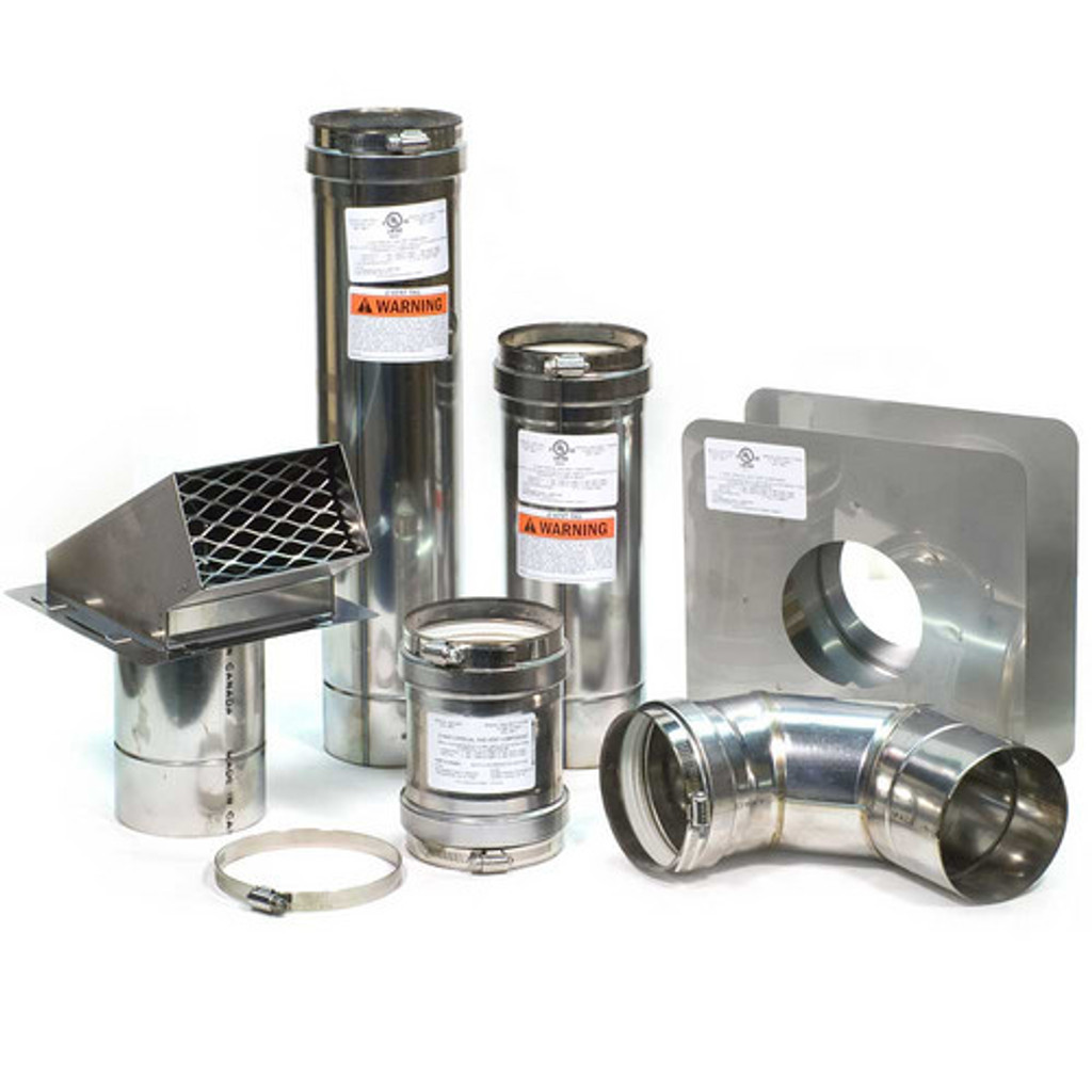 """4"""" Horizontal Z-Vent Water Heater Vent Kit with Backflow Preventer Accessories"""
