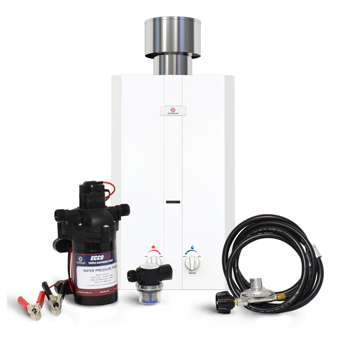 Eccotemp L10 Portable Outdoor Tankless Water Heater w/  EccoFlo Diaphragm 12V Pump and Strainer