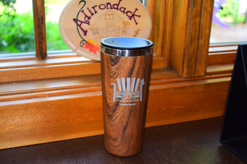 Large Wood Grain Tumbler with Straw