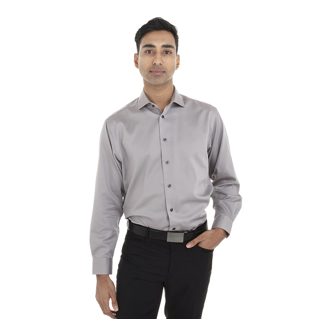 Ice Grey - 18CC107 Calvin Klein Long Sleeve Non Iron Dobby Shirt | T-shirt.ca