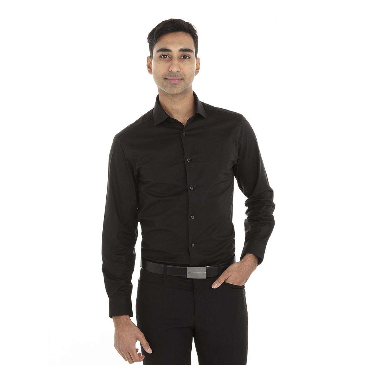 Black - 18CC109 Calvin Klein Long Sleeve Cotton Stretch Shirt   T-shirt.ca