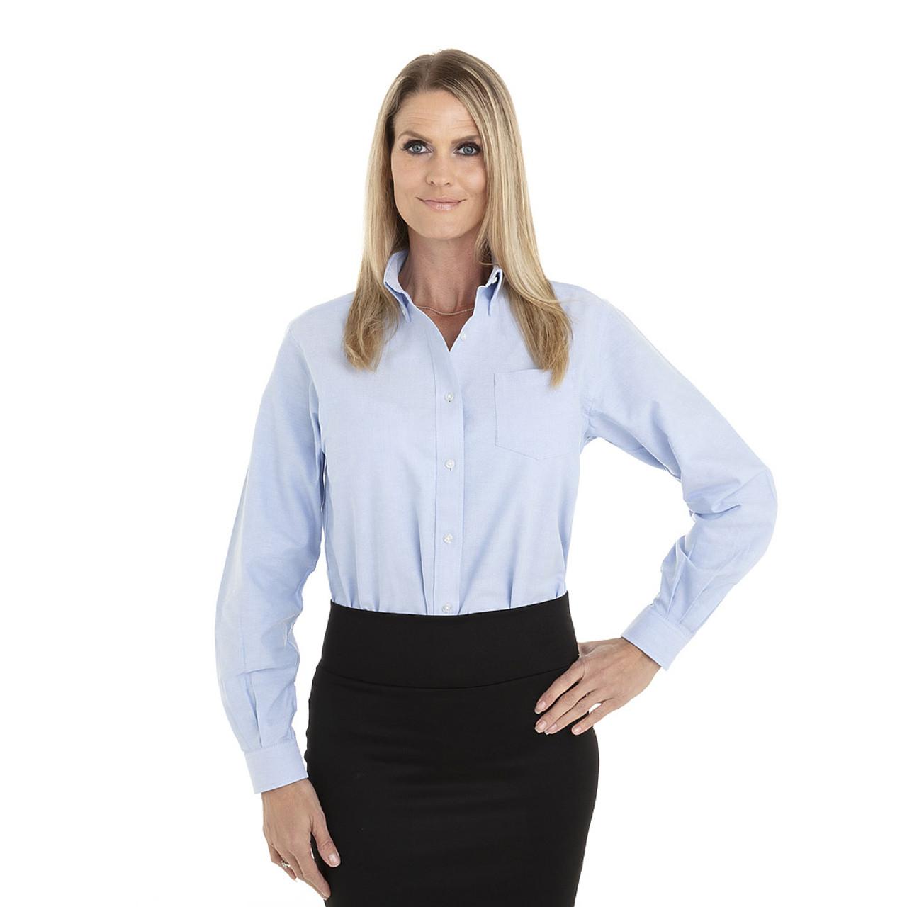 Blue - 18CV300 Van Heusen Ladies' Long Sleeve Oxford Shirt | T-shirt.ca