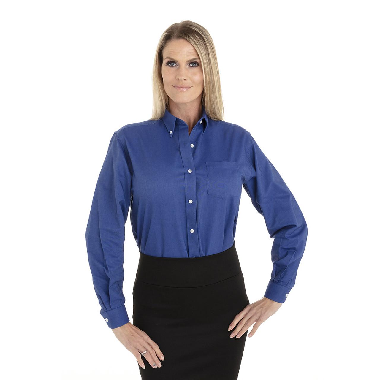 French Blue - 18CV300 Van Heusen Ladies' Long Sleeve Oxford Shirt | T-shirt.ca