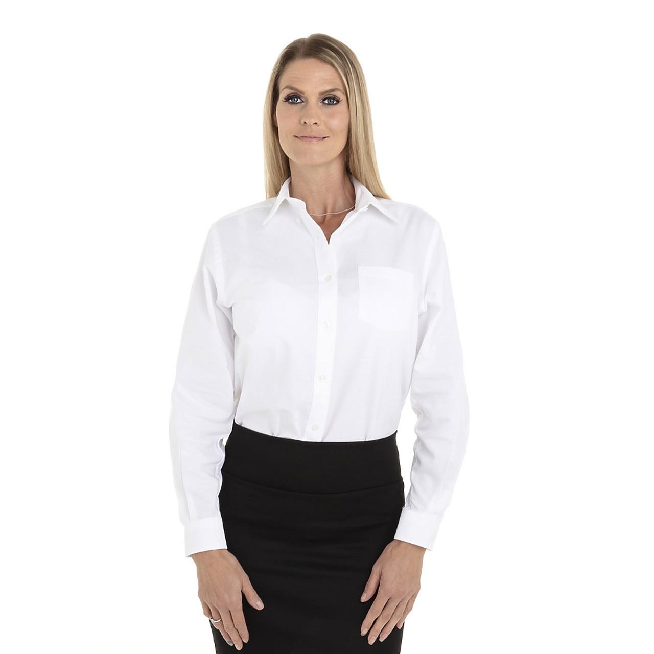 White - 18CV300 Van Heusen Ladies' Long Sleeve Oxford Shirt | T-shirt.ca