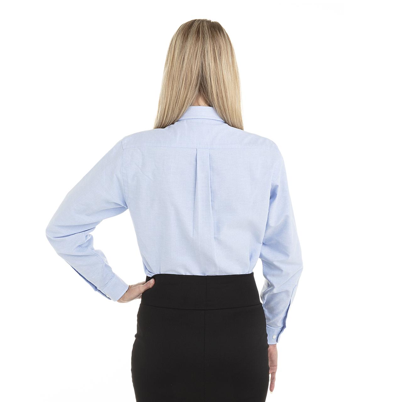 Blue - Back, 18CV300 Van Heusen Ladies' Long Sleeve Oxford Shirt | T-shirt.ca
