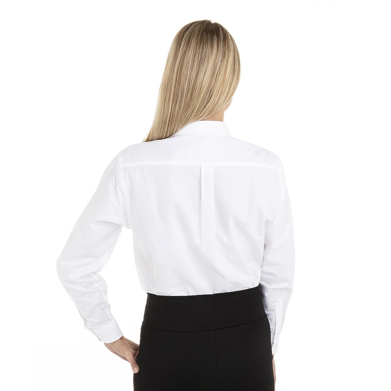 White - Back, 18CV300 Van Heusen Ladies' Long Sleeve Oxford Shirt | T-shirt.ca