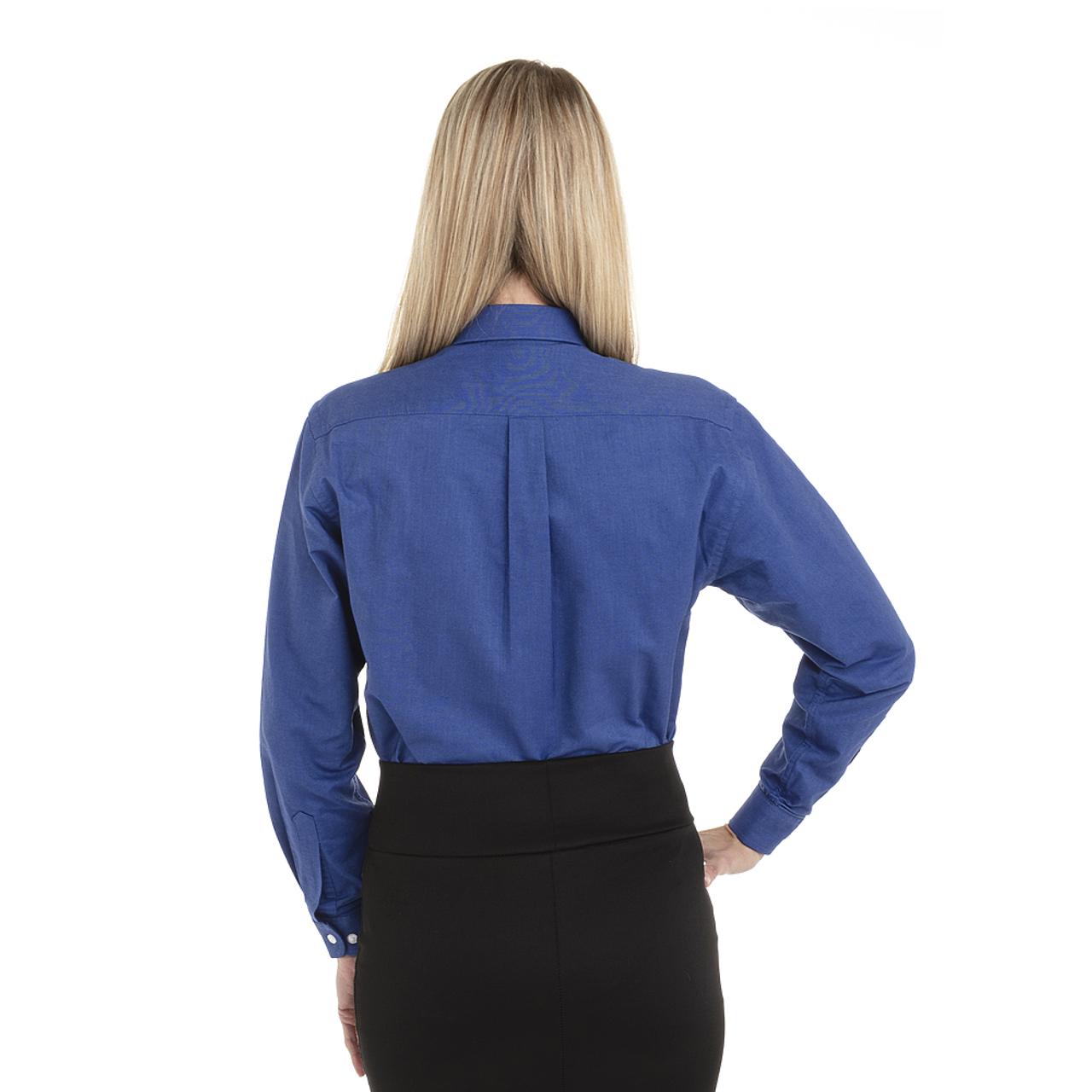 French Blue - Back, 18CV300 Van Heusen Ladies' Long Sleeve Oxford Shirt | T-shirt.ca
