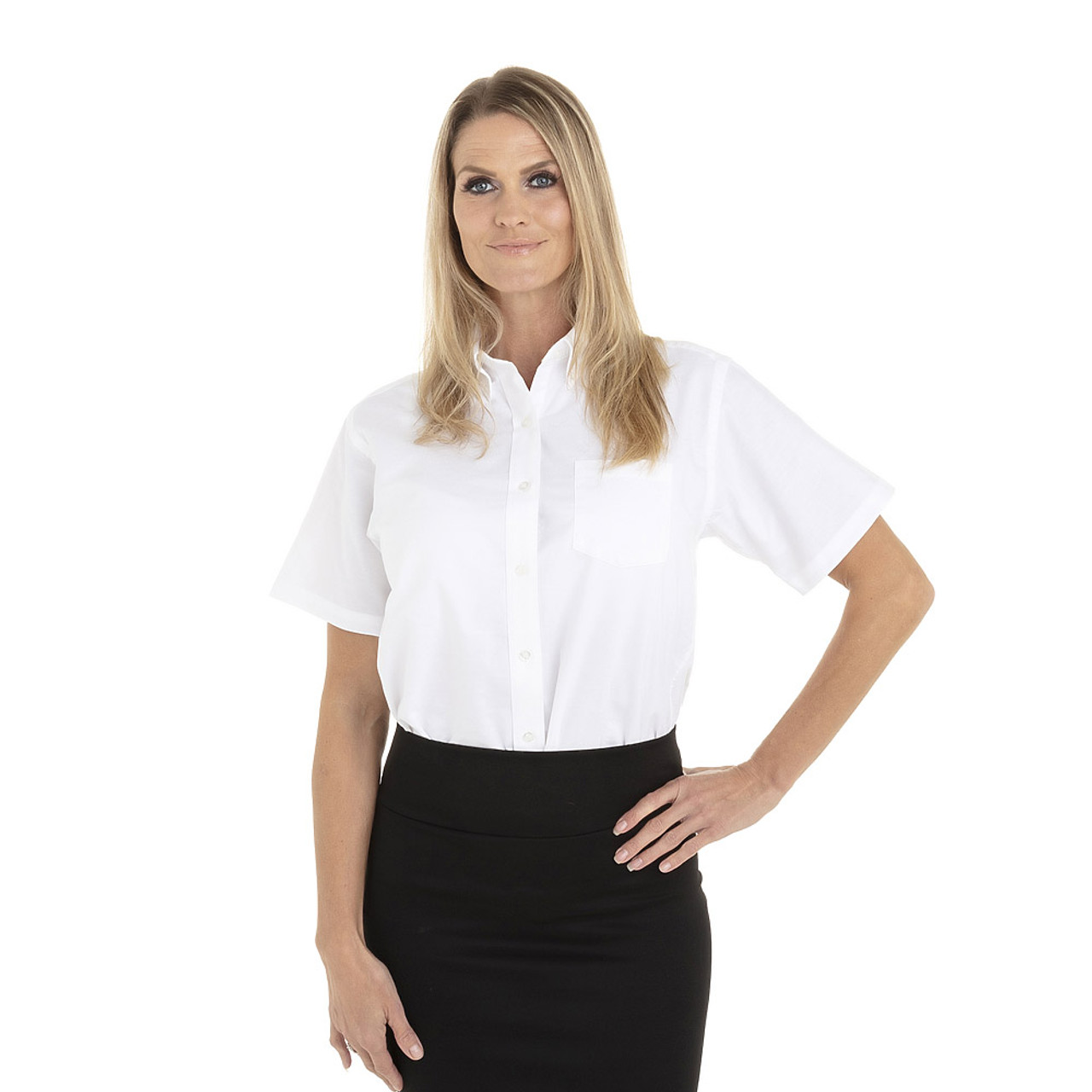White - 18CV301 Van Heusen Ladies' Short Sleeve Oxford Shirt -T-shirt.ca
