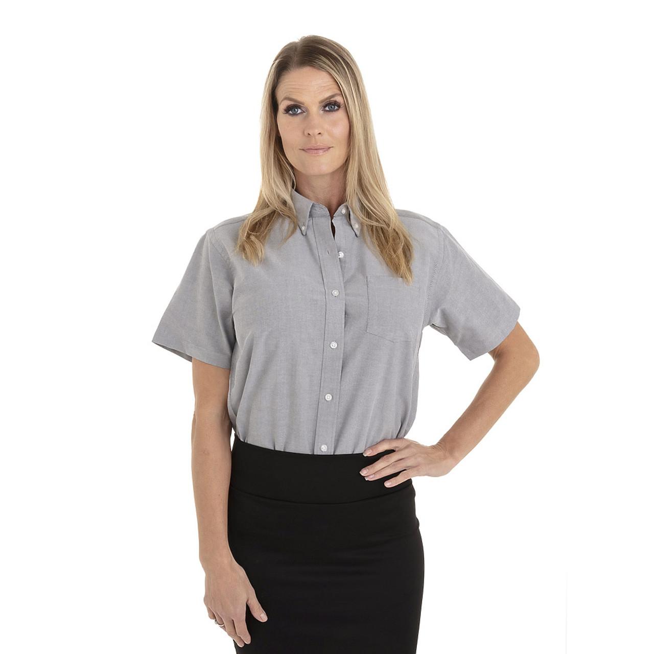 Greystone - 18CV301 Van Heusen Ladies' Short Sleeve Oxford Shirt -T-shirt.ca