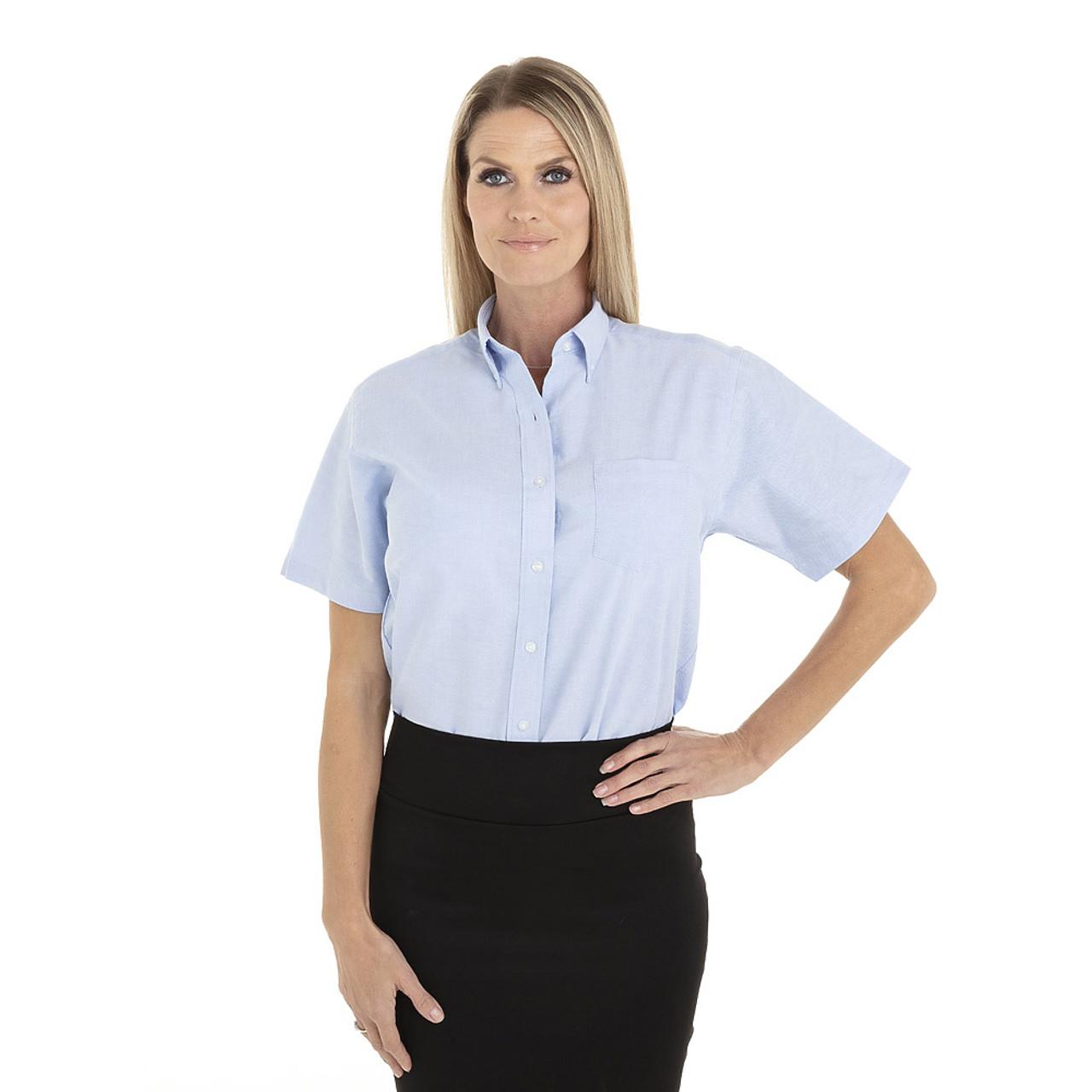 Blue - 18CV301 Van Heusen Ladies' Short Sleeve Oxford Shirt -T-shirt.ca