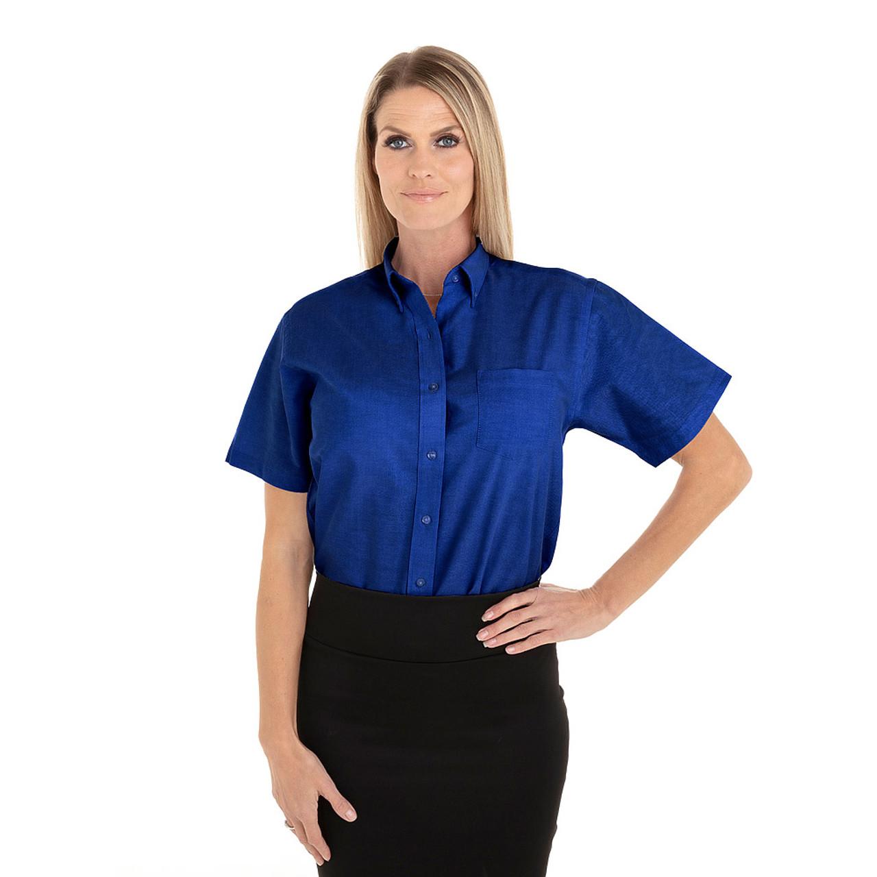 French Blue - 18CV301 Van Heusen Ladies' Short Sleeve Oxford Shirt -T-shirt.ca
