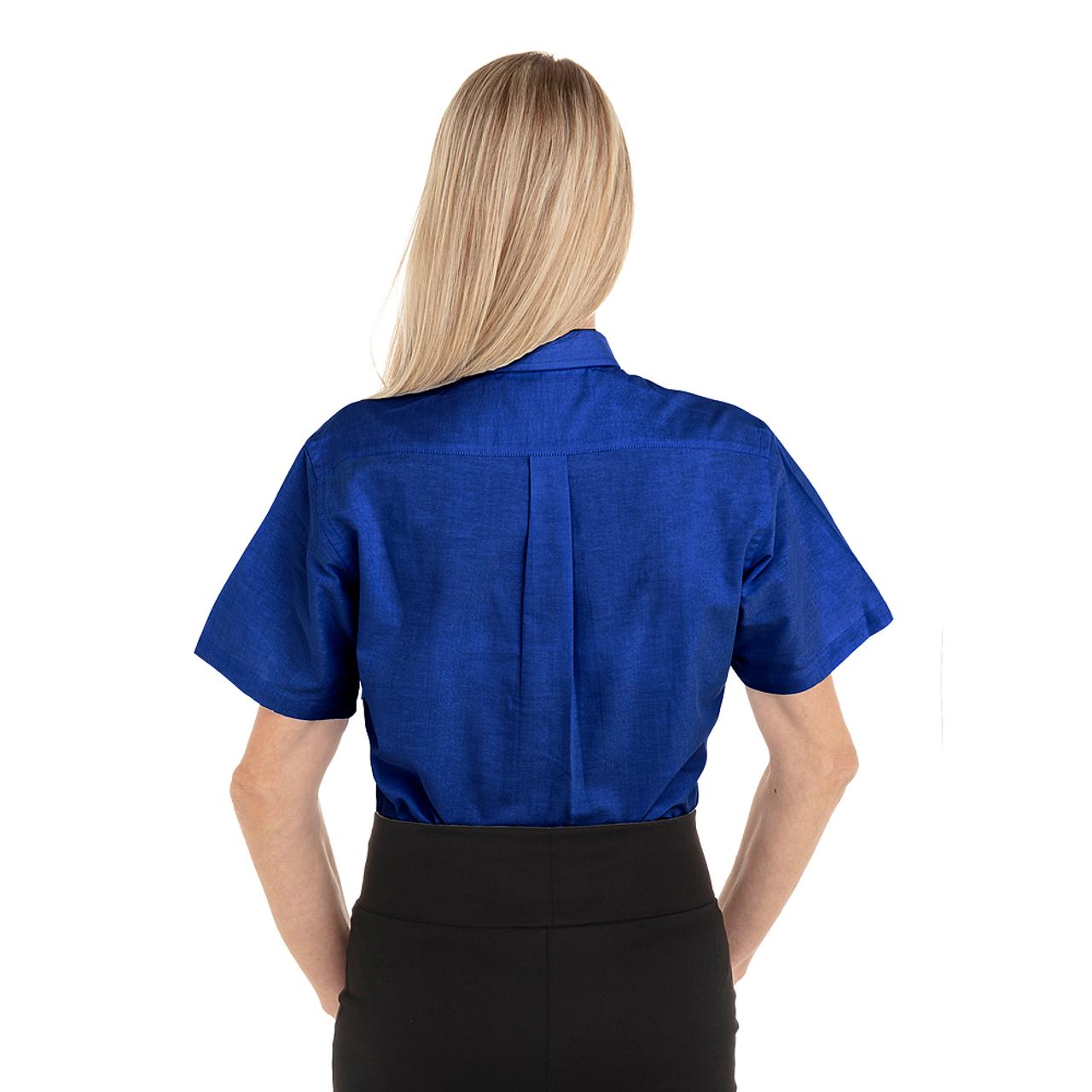 French Blue - Back, 18CV301 Van Heusen Ladies' Short Sleeve Oxford Shirt -T-shirt.ca