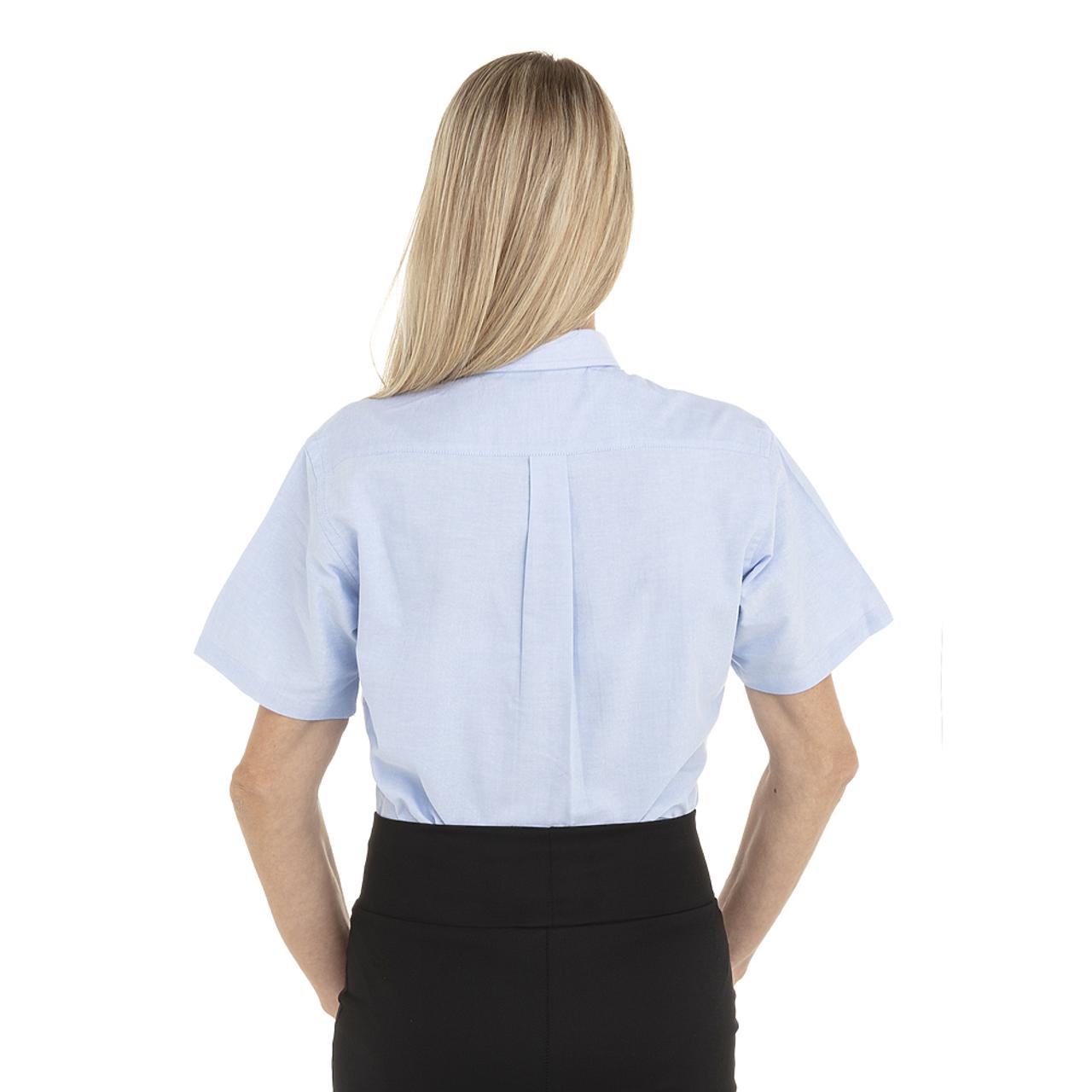 Blue - Back, 18CV301 Van Heusen Ladies' Short Sleeve Oxford Shirt -T-shirt.ca