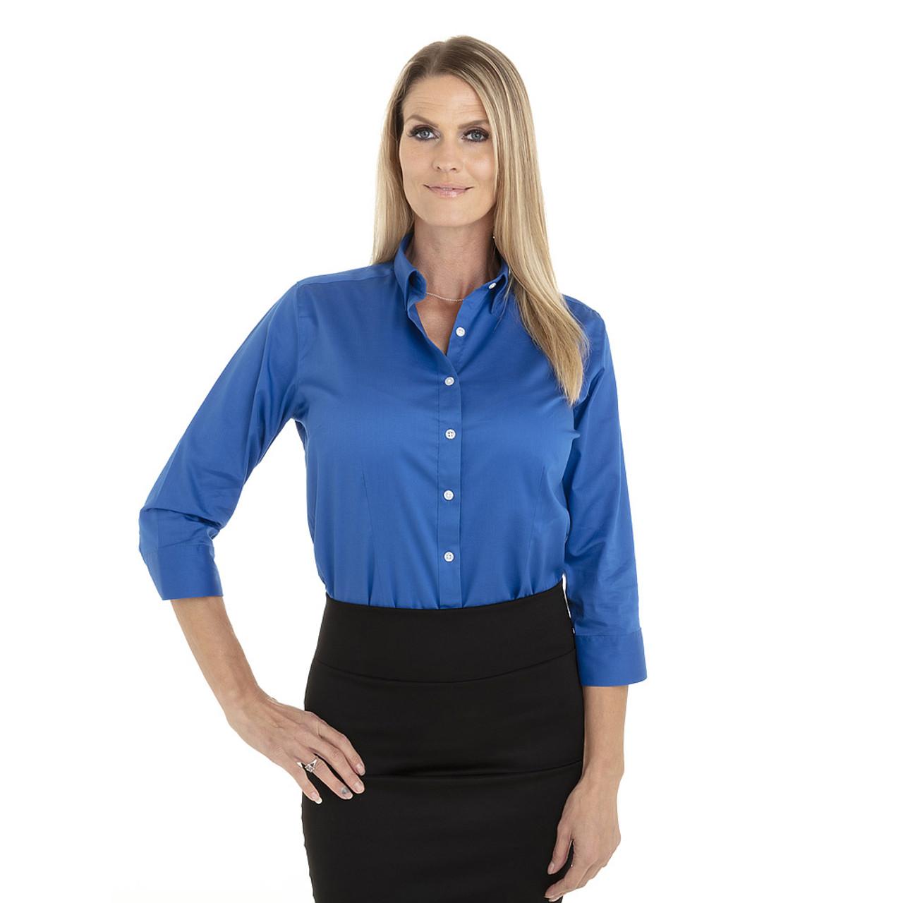 Ultra Blue - 18CV304 Van Heusen Ladies' ¾ Sleeve Dress Twill Shirt | T-shirt.ca