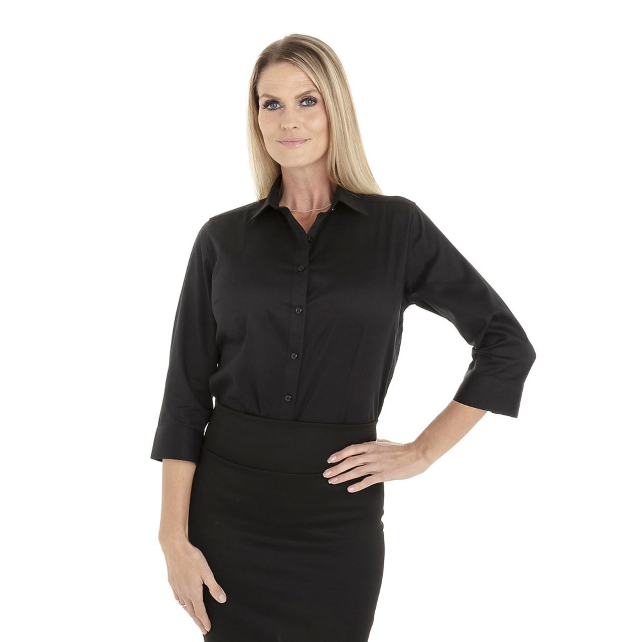 Black - 18CV304 Van Heusen Ladies' ¾ Sleeve Dress Twill Shirt | T-shirt.ca