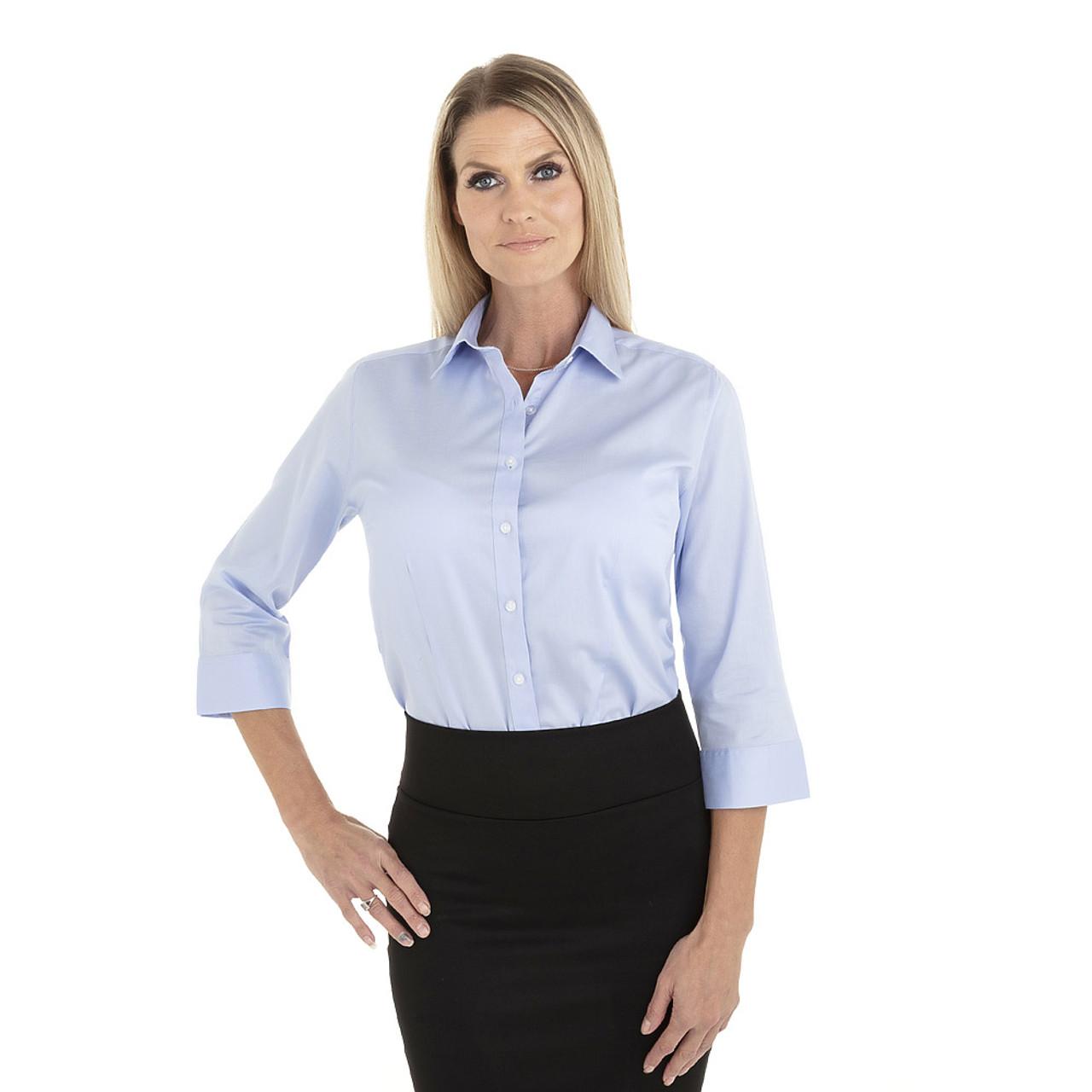 English Blue - 18CV304 Van Heusen Ladies' ¾ Sleeve Dress Twill Shirt | T-shirt.ca