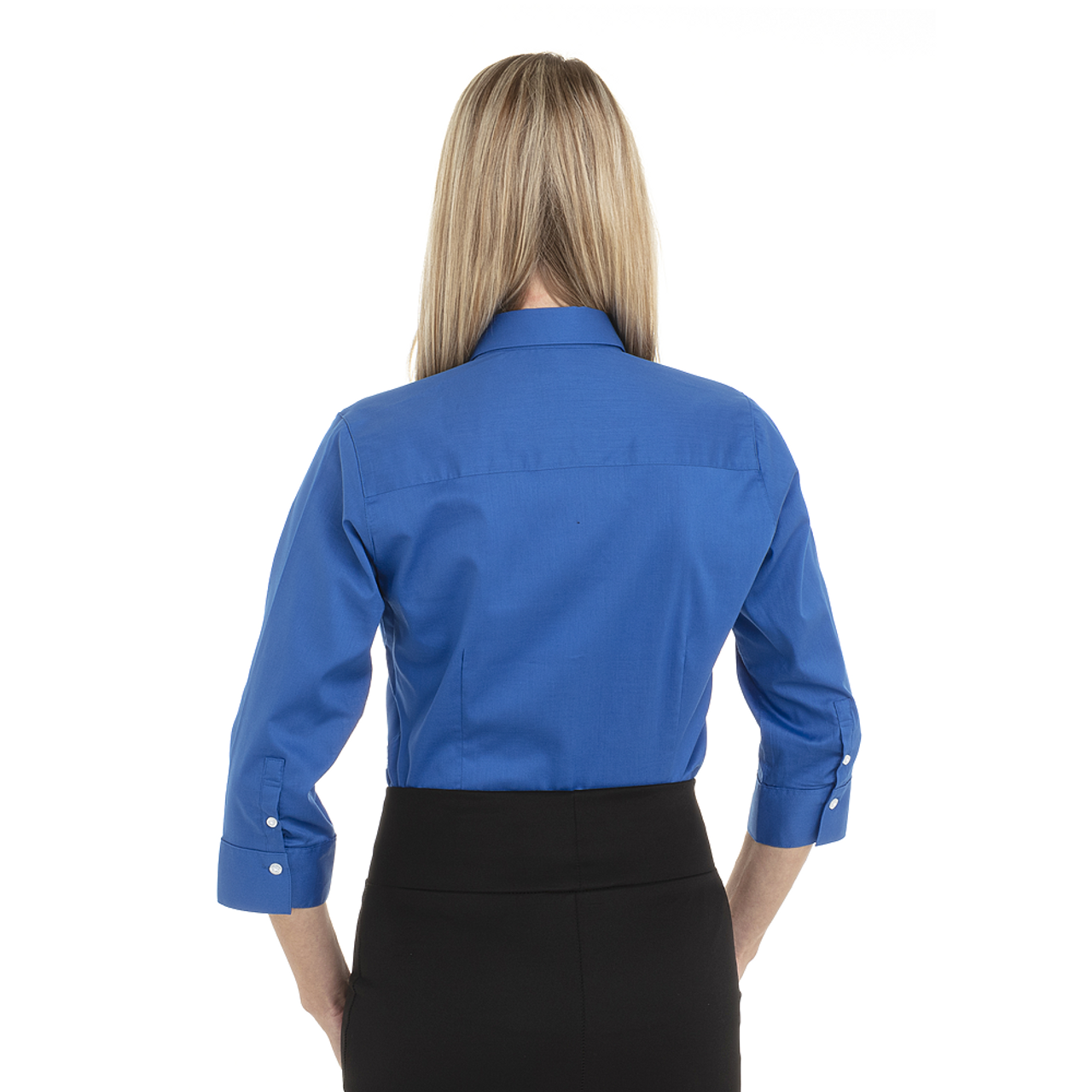 Ultra Blue - Back, 18CV304 Van Heusen Ladies' ¾ Sleeve Dress Twill Shirt | T-shirt.ca