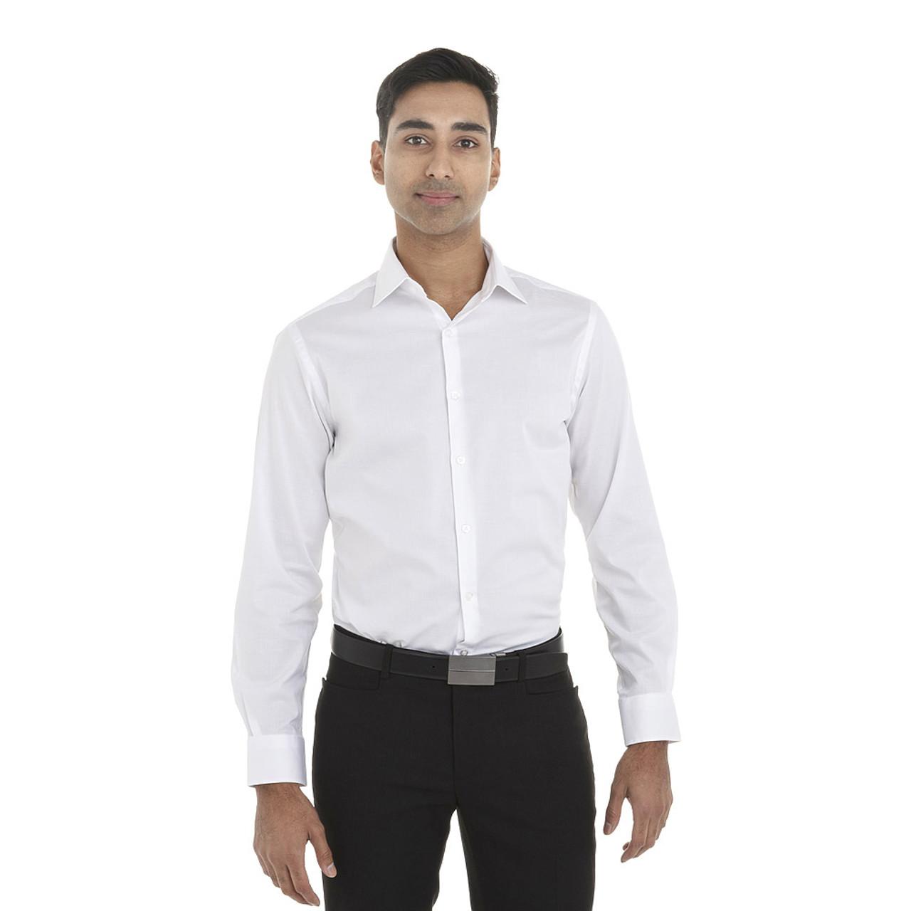 White - 18CV316 Van Heusen Long Sleeve Dress Twill Shirt   T-shirt.ca