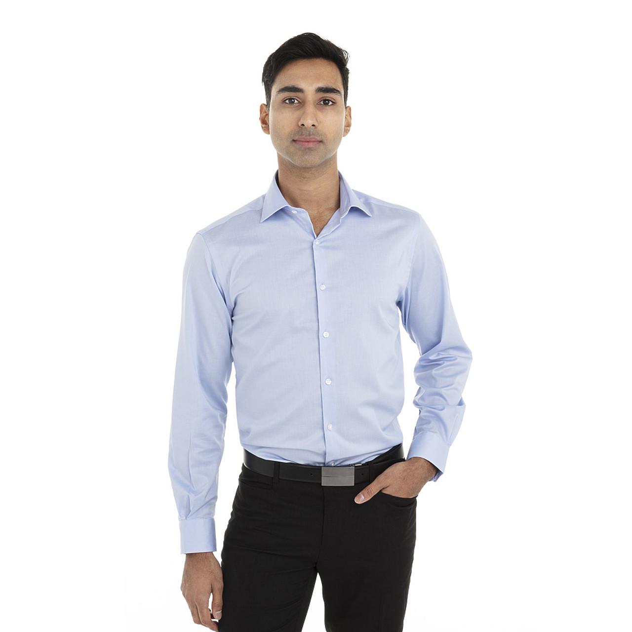 English Blue - 18CV316 Van Heusen Long Sleeve Dress Twill Shirt   T-shirt.ca