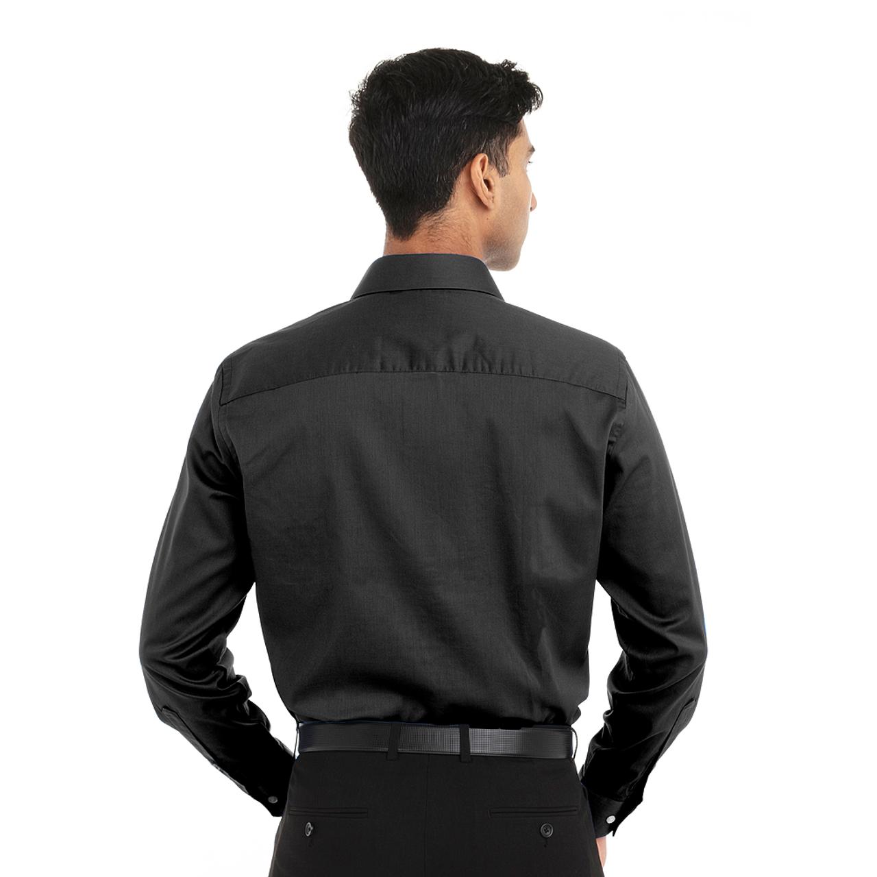 Black- Back, 18CV316 Van Heusen Long Sleeve Dress Twill Shirt   T-shirt.ca