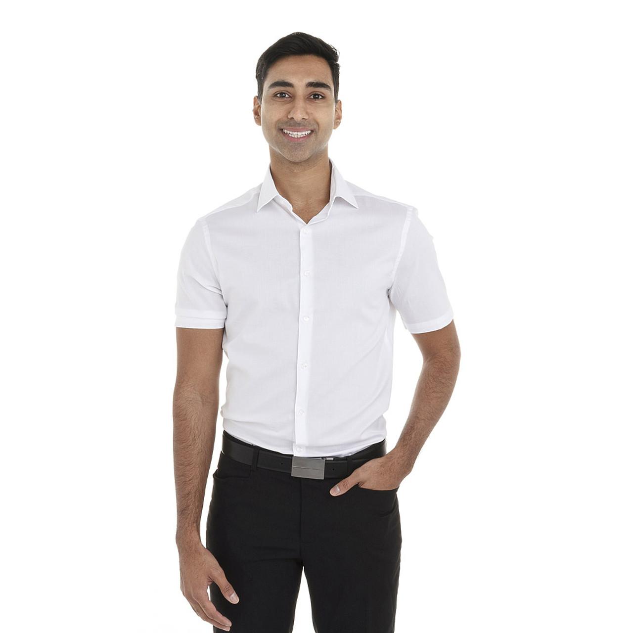 White - 18CV317 Van Heusen Short Sleeve Dress Twill Shirt   T-shirt.ca