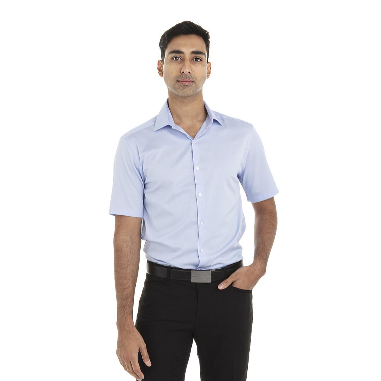 English Blue - 18CV317 Van Heusen Short Sleeve Dress Twill Shirt   T-shirt.ca