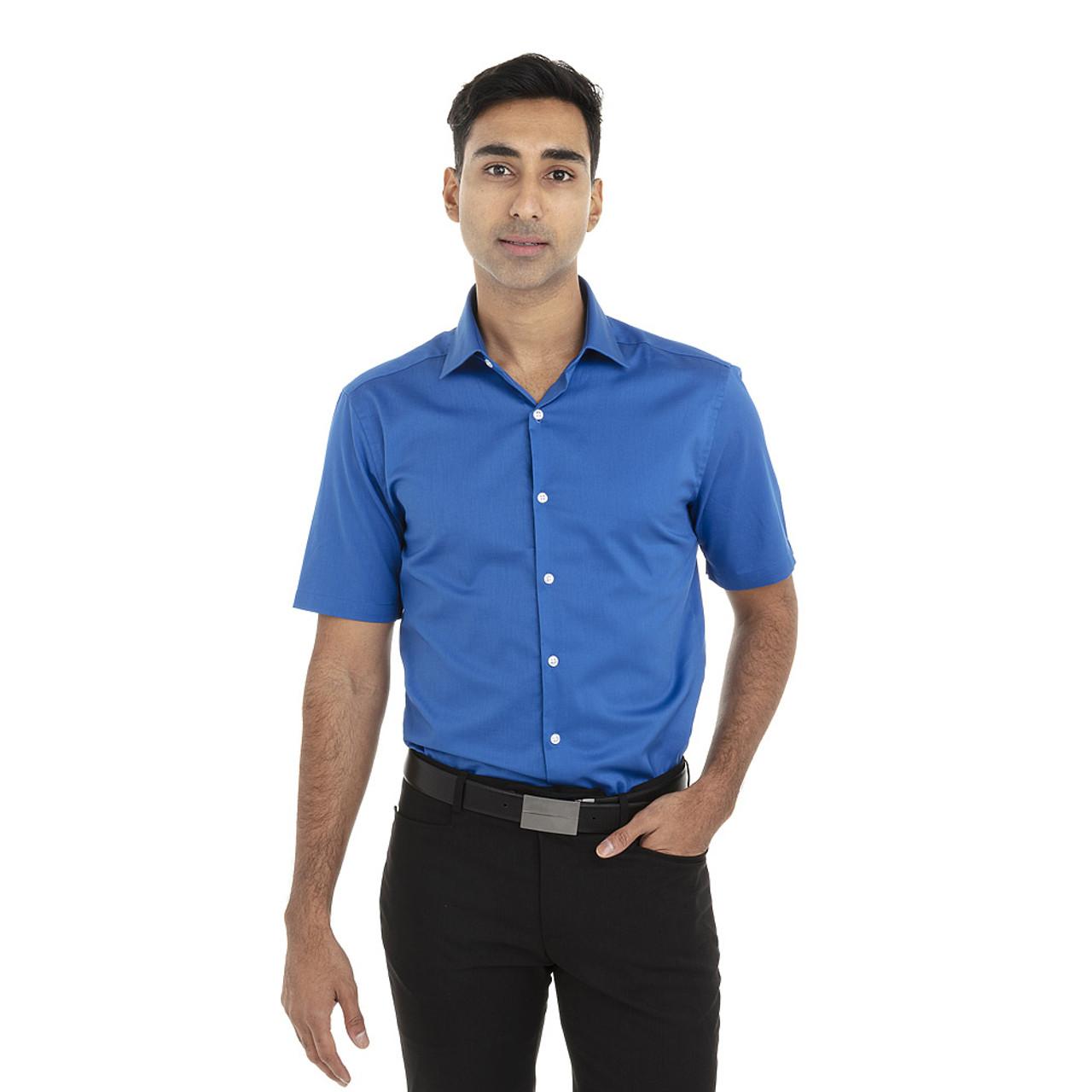 Ultra Blue - 18CV317 Van Heusen Short Sleeve Dress Twill Shirt   T-shirt.ca