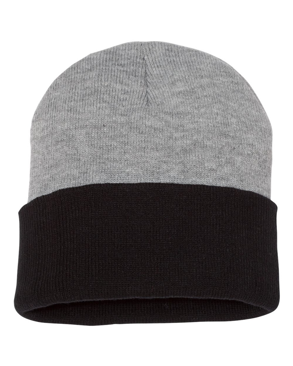 Heather/ Black - SP12T Sportsman 12 Inch Knit Beanie | T-shirt.ca