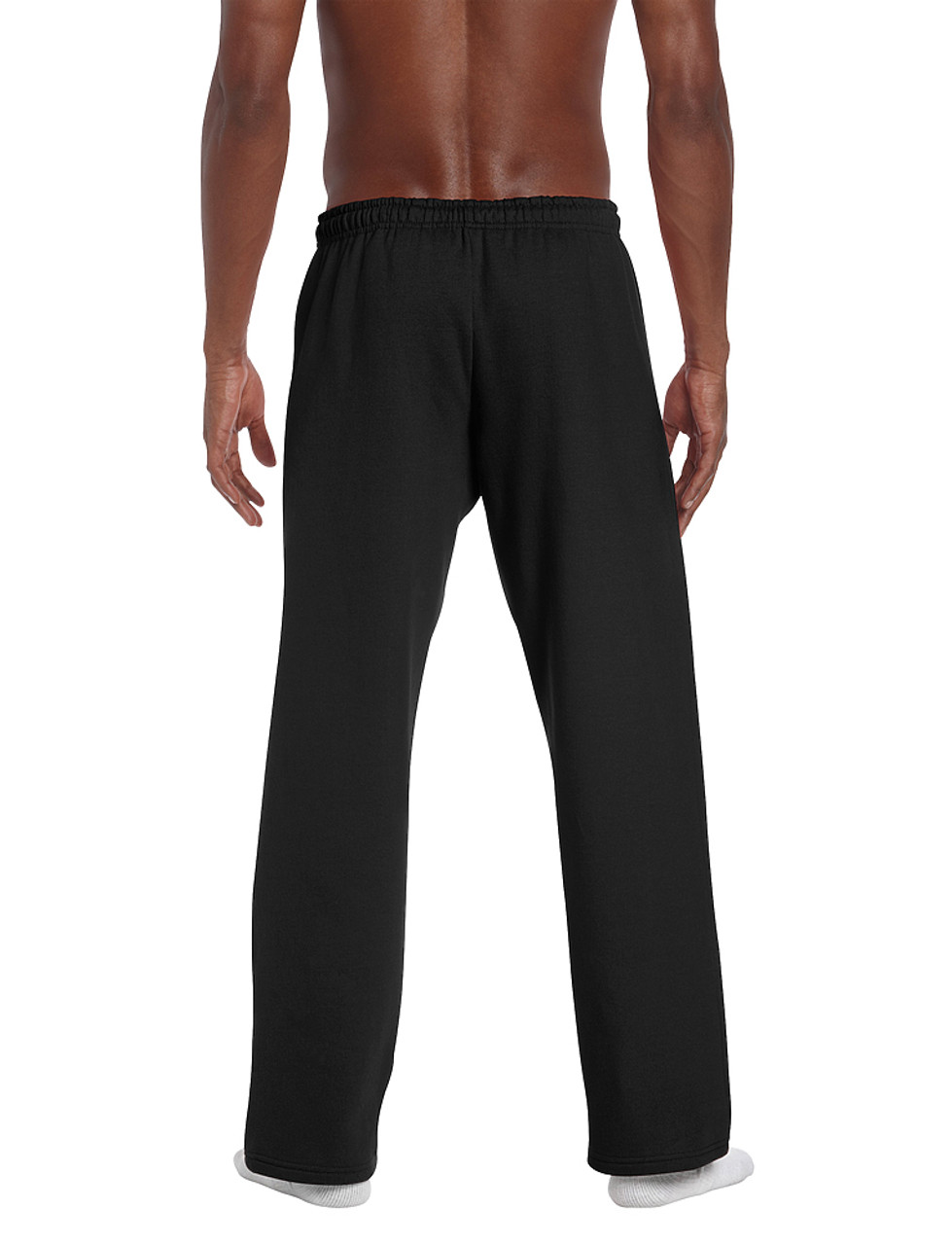 Black - Back, 18400 Gildan No Pocket / Open Bottom Pants | T-shirt.ca