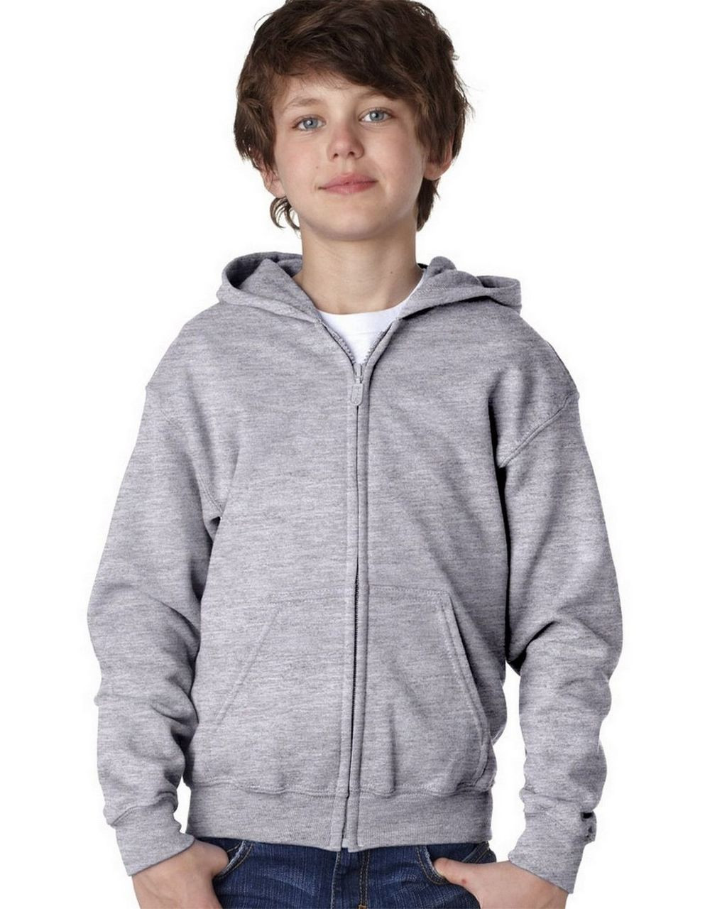 Sport Grey - 18600B Gildan Youth Full Zip Hoodie | T-shirt.ca