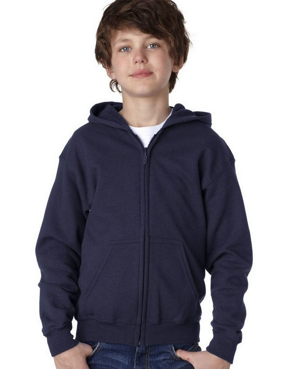 Navy - 18600B Gildan Youth Full Zip Hoodie | T-shirt.ca
