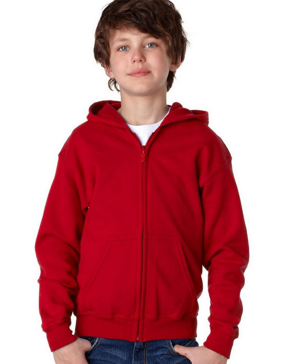 Red - 18600B Gildan Youth Full Zip Hoodie | T-shirt.ca