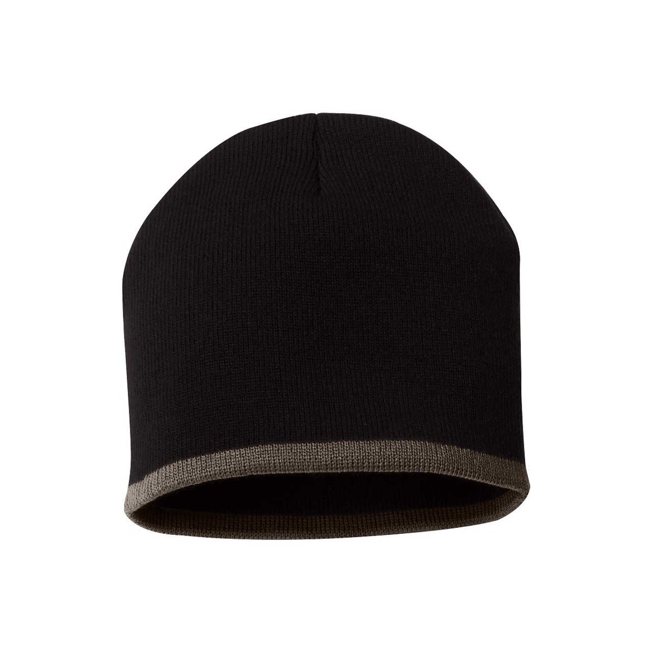 "Black/Taupe - SP09 Sportsman Bottom Stripe Acrylic Knit 8"" Toque | T-shirt.ca"