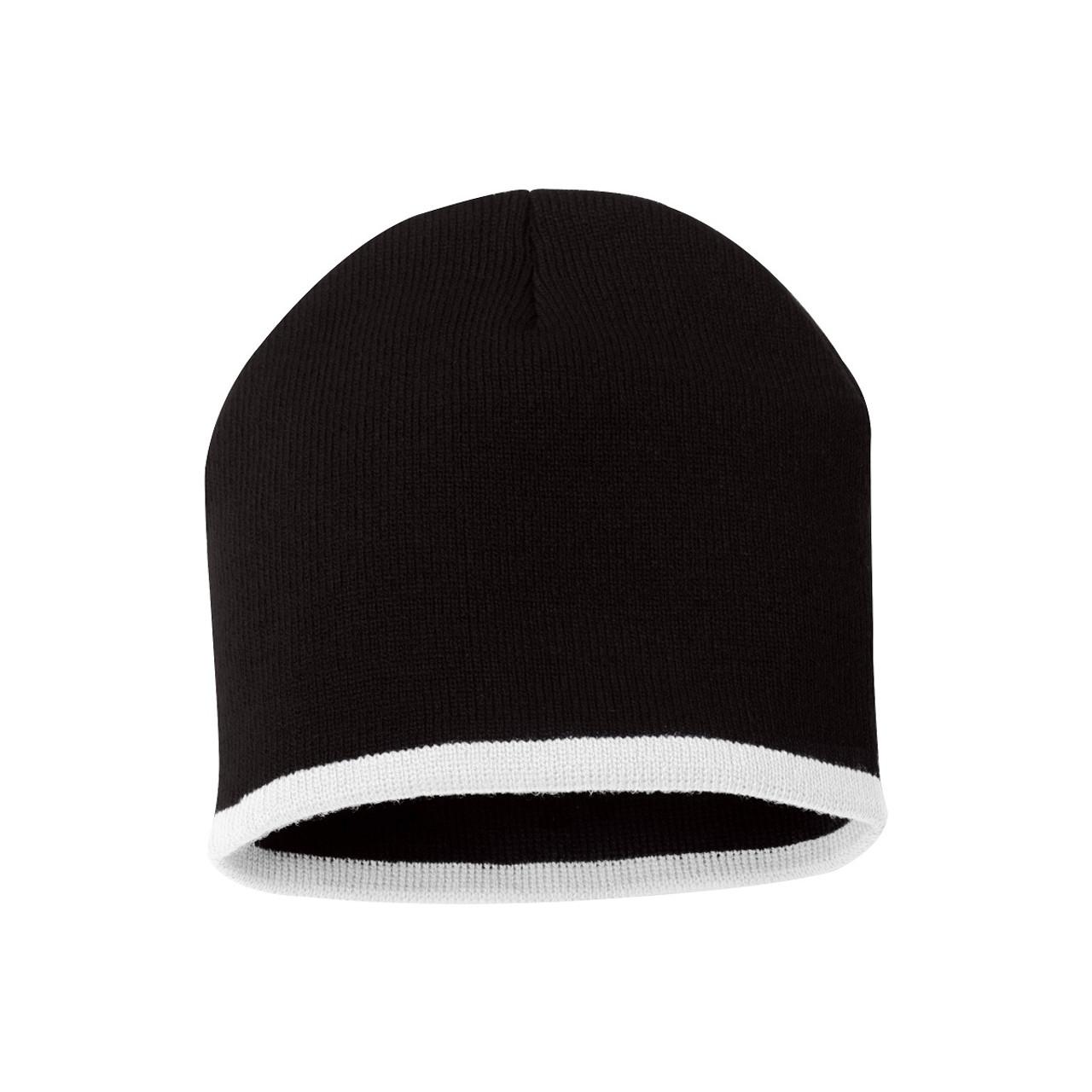 "Black/White - SP09 Sportsman Bottom Stripe Acrylic Knit 8"" Toque | T-shirt.ca"