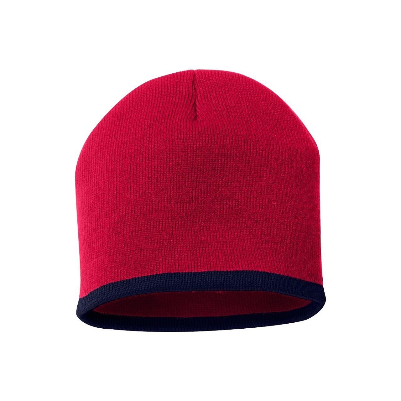 "Red/Navy - SP09 Sportsman Bottom Stripe Acrylic Knit 8"" Toque | T-shirt.ca"