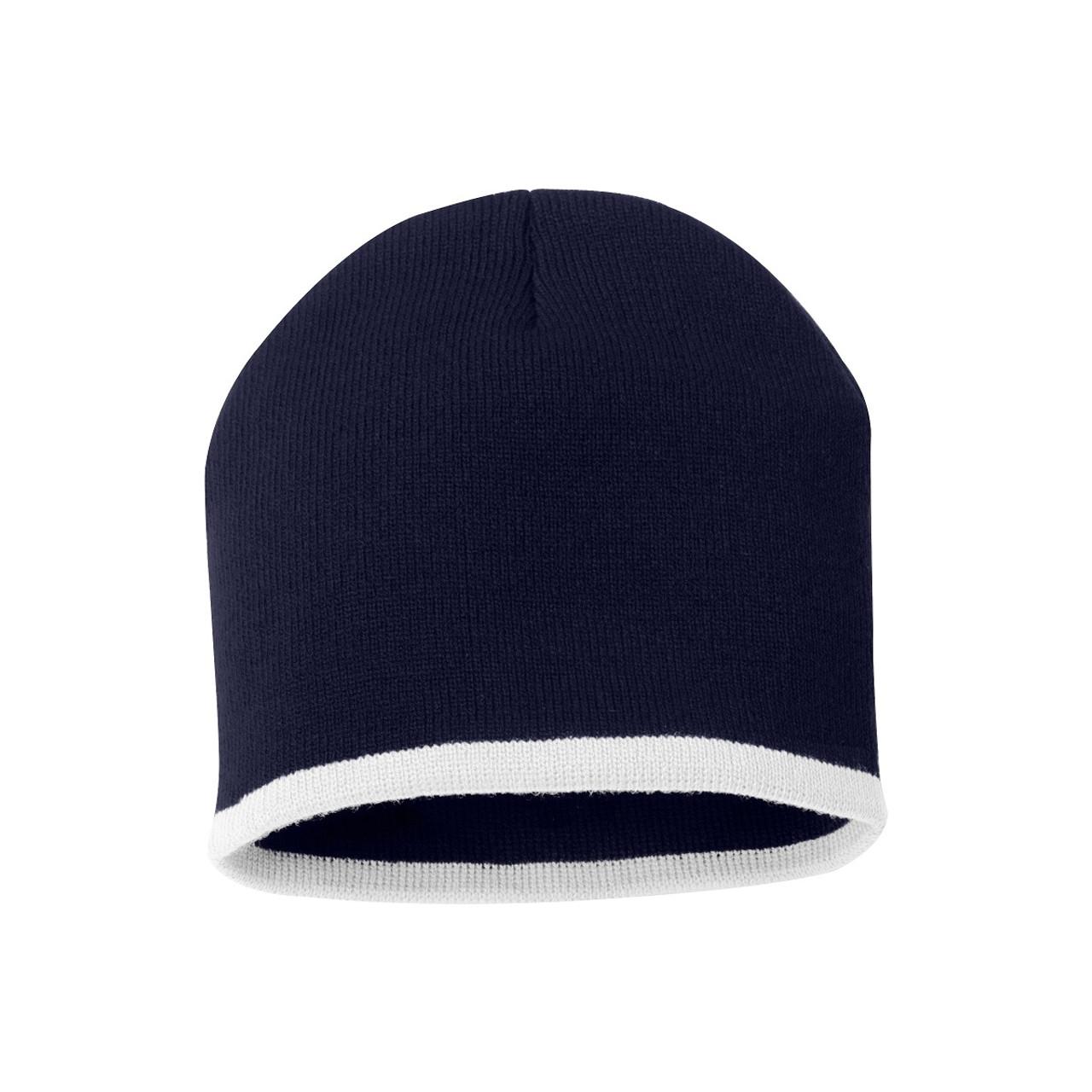 "Navy/White - SP09 Sportsman Bottom Stripe Acrylic Knit 8"" Toque | T-shirt.ca"