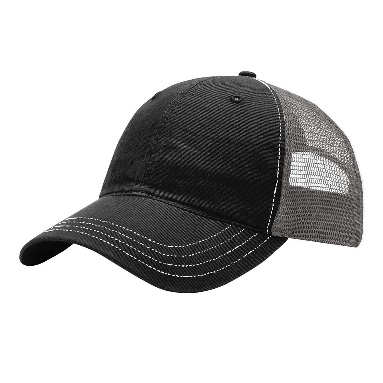 Black/Charcoal - 111 Richardson Washed Trucker Hat   T-shirt.ca