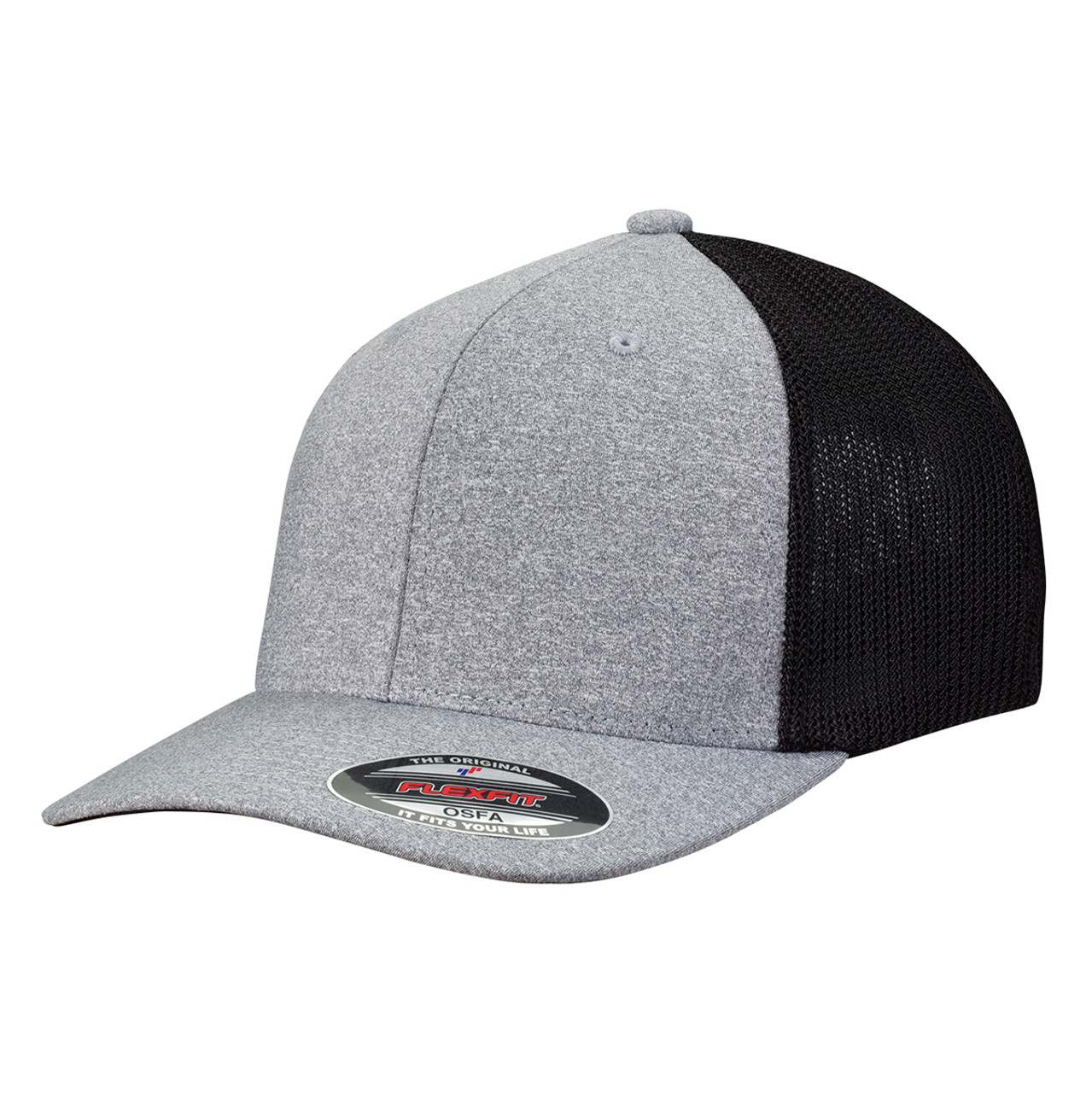 Heather/Black - FF6311 Flexfit Melange Mesh Trucker Cap | T-shirt.ca
