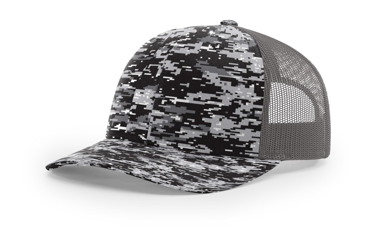 Black Digital Camo/ Charcoal - 112P Richardson Printed Trucker Cap | T-shirt.ca