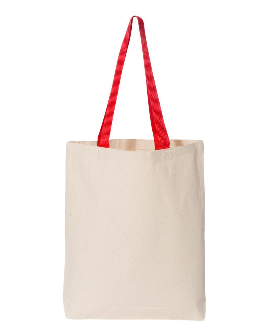 Natural/ Red - Q4400 Q-Tees Canvas Tote Bag Colour Handles | T-shirt.ca