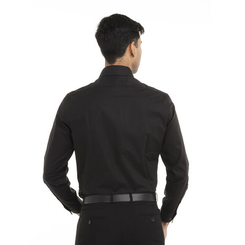 Black - Back, 18CC109 Calvin Klein Long Sleeve Cotton Stretch Shirt | T-shirt.ca