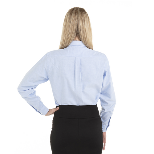 Blue - Back, 18CV300 Van Heusen Ladies' Long Sleeve Oxford Shirt | T-shirt.ca